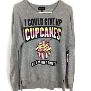 Adorable Cupcake Heather Grey Sweatshirt b/Rampage